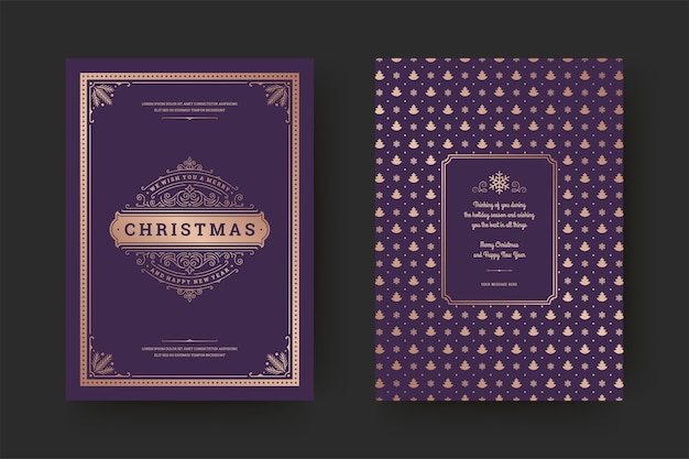 Christmas greeting card vintage typographic , ornate decorations symbols with winter holidays wish, ornaments and frame.