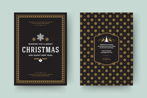 Christmas greeting card vintage typographic