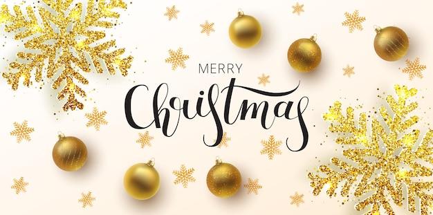 Рождественская открытка, веб-баннер, фон. золотой и серебряный рождественский бал, с орнаментом и блестками. металлическая золотая рождественская снежинка. рисованной надписи.