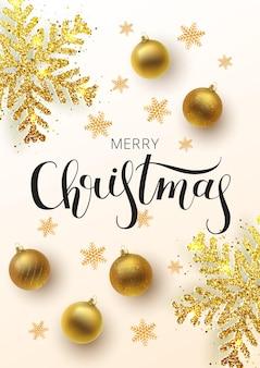 クリスマスのグリーティングカード、webバナー、ベクトルの背景。金と銀のクリスマスボール、飾りとスパンコールが付いています。メタリックゴールドのクリスマススノーフレーク。手描きのレタリング。