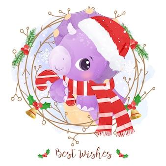 かわいい恐竜とクリスマスのグリーティングカード