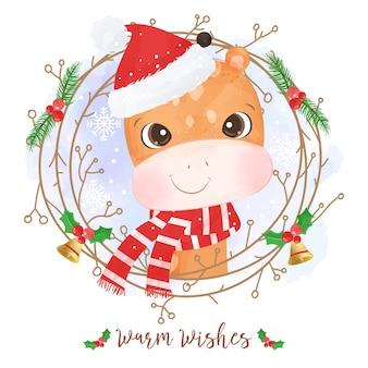 귀여운 기린 크리스마스 인사말 카드