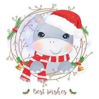귀여운 하마와 함께 크리스마스 인사말 카드