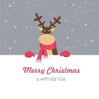 Рождественская открытка с оленем в красном платке