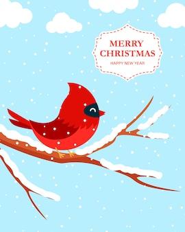 Рождественская открытка с красным кардиналом на ветке дерева. плоский