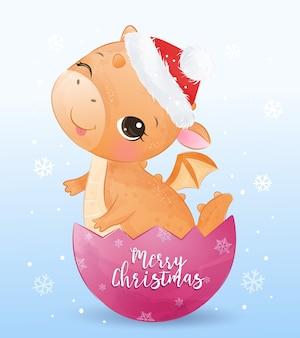 Рождественская открытка с очаровательным драконом