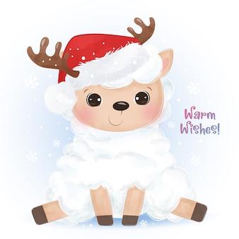 Рождественская открытка с очаровательным ягненком
