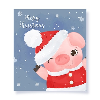Christmas greeting card with adorable little pig