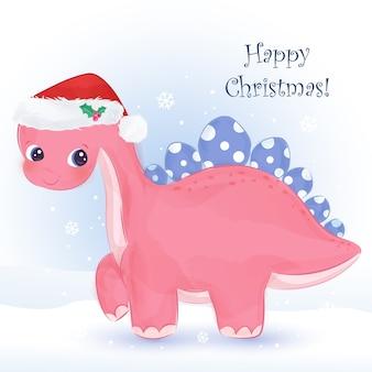 愛らしいピンクの恐竜とクリスマスのグリーティングカード