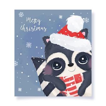 Рождественская открытка с очаровательным енотом