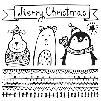 Christmas greeting card with animal, penguin in a hat and a scarf, dog in a hat and a sweater and bear. merry christmas festive .