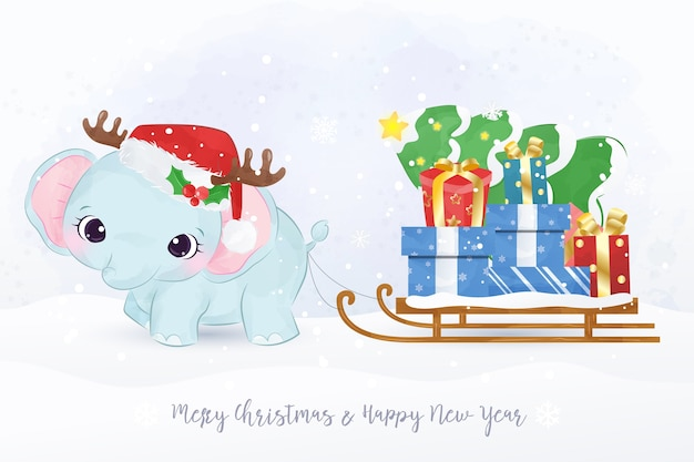 Рождественская открытка со слоненком