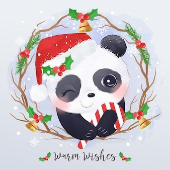 Рождественская открытка с маленькой пандой
