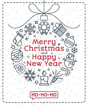 Christmas greeting card with ball such as christmas line icons