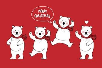 Christmas greeting card with  bear
