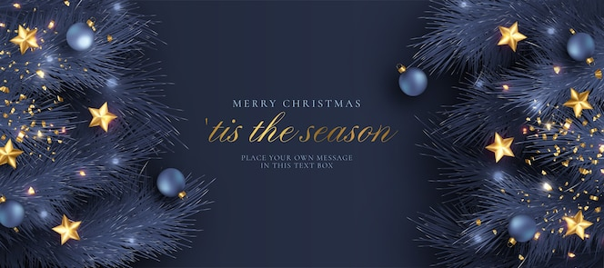 Christmas greeting card with blue and golden realistic decoration