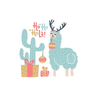 Christmas greeting card with cactus, gift boxes and funny color llama