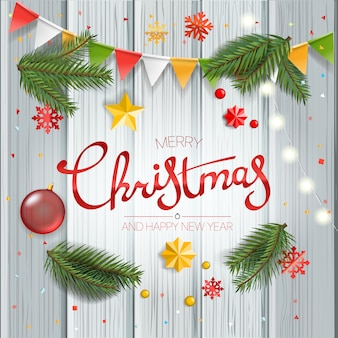 Christmas greeting card with calligraphic logo