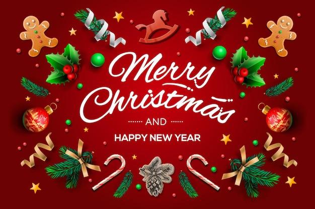 붓글씨 시즌 소원과 축제 요소의 구성 크리스마스 인사말 카드