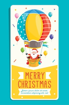 Christmas greeting card  with cartoon characters