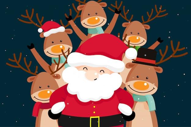 クリスマスサンタクロースとトナカイクリスマスグリーティングカード。ベクトル図