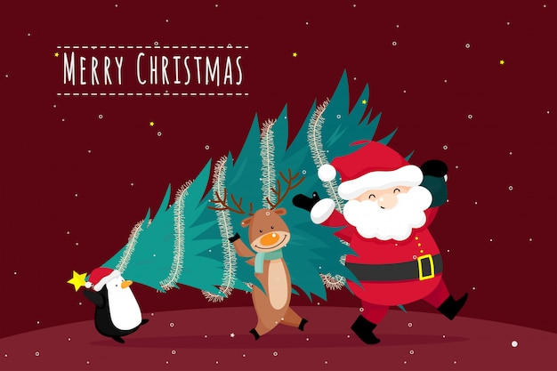 Christmas greeting card with christmas santa claus, penguin and reindeer. vector illustration