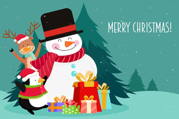 Christmas greeting card with christmas snowman, penguin, pine and reindeer. vector illustration