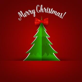 Рождественская открытка с елкой и украшениями