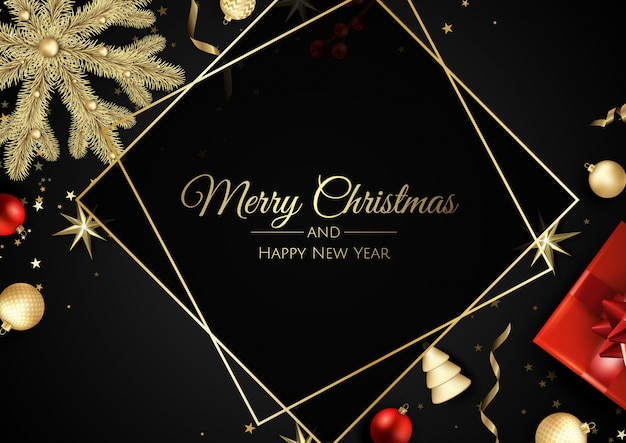 Рождественская открытка с елочными украшениями