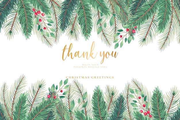 Christmas greeting card with christmas tree leaves