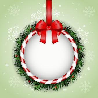 크리스마스 화 환 및 빨간 리본 크리스마스 인사말 카드
