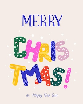 Christmas greeting card with colorful bright letters
