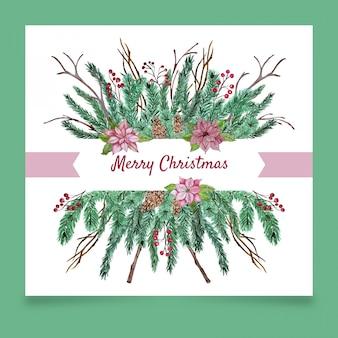 침 엽 수 나뭇 가지와 크리스마스 인사말 카드