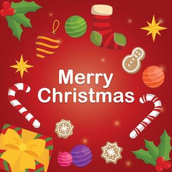 Рождественская открытка с шариком печенья конфета рождественские украшения подарочные куклы и носки