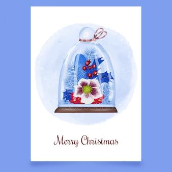 カッピングガラス、ガマズミ属の木、花とクリスマスのグリーティングカード Premiumベクター