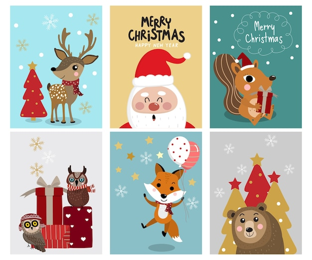 Christmas greeting card with cute animal  character.