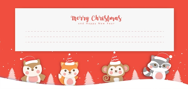 눈 마에서 귀여운 동물들과 함께 크리스마스 인사말 카드.