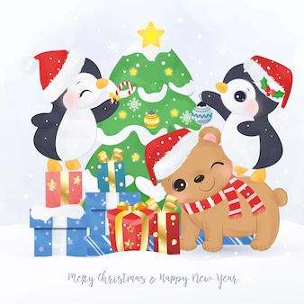 Christmas greeting card with cute animals