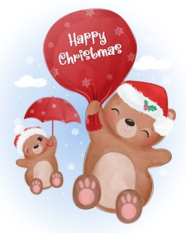 Christmas greeting card with cute baby bear flying