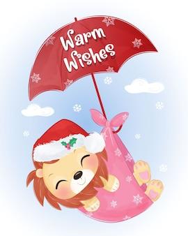 귀여운 아기 사자 비행 크리스마스 인사말 카드