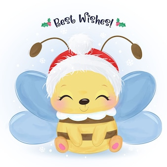 Christmas greeting card with cute bee smile happily