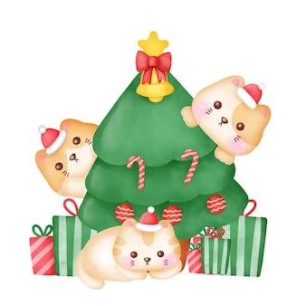 かわいい猫と水彩風のクリスマスツリーのクリスマスグリーティングカード。