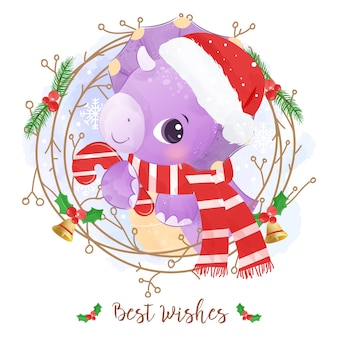 Christmas greeting card with a cute dinosaur