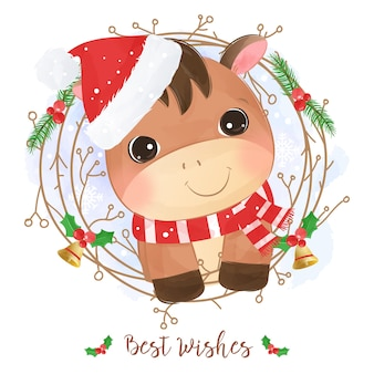 Christmas greeting card with a cute donkey