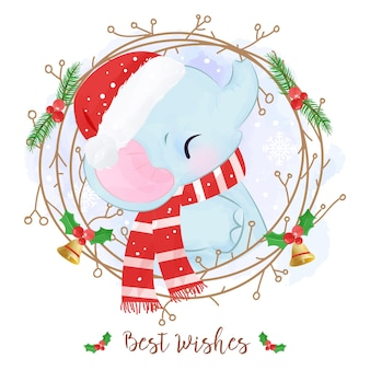 Christmas greeting card with a cute elephant