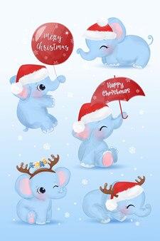 多くのポーズでかわいい象とクリスマスのグリーティングカード