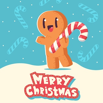 Christmas greeting card with cute gingerbread man cookie cartoon character on snowy background.