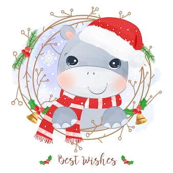 Christmas greeting card with a cute hippo