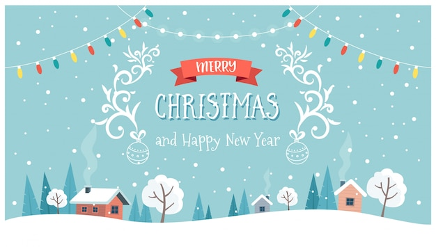 Christmas greeting card with cute landscape, text and hanging decorations.