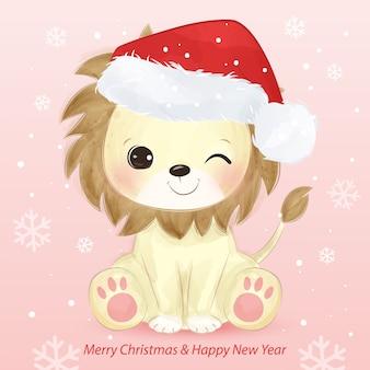 かわいいライオンとサンタの帽子のクリスマスグリーティングカード。クリスマスの背景イラスト。